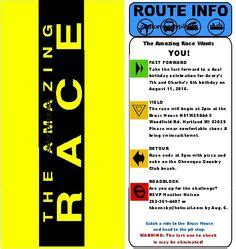 Route Card Template Scouts by Birthday Invitations Amazing Race Invitations