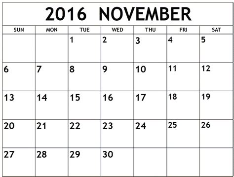 printable calendar 2016 to write on november 2016 printable calendar templates