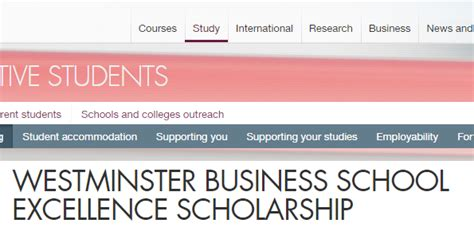 Westminster International College Mba by Westminster Business School Excellence Scholarship Uk