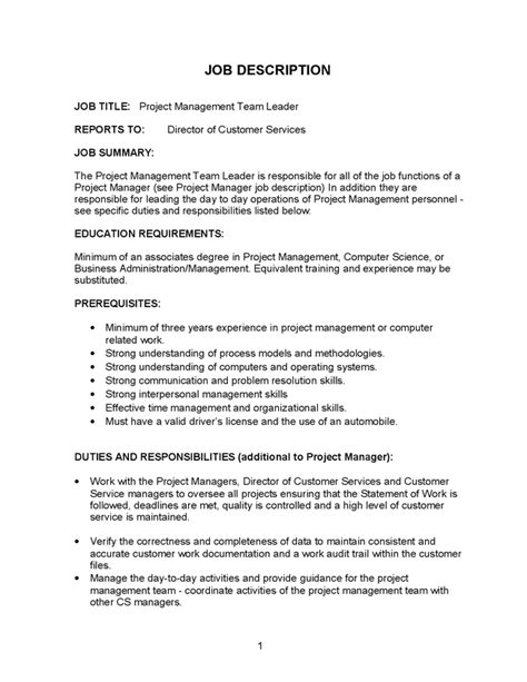 Team Leader Description For Resume by 12 Project Manager Description Recentresumes