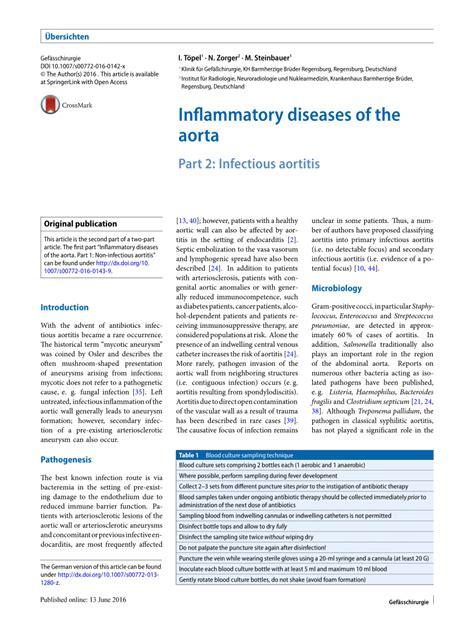 section 40 1 infectious disease inflammatory diseases of the aorta part 2 infectious