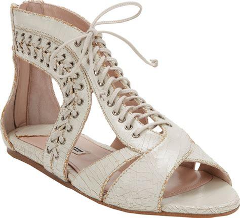 white lace up sandals miu miu laceup gladiator sandals in white lyst