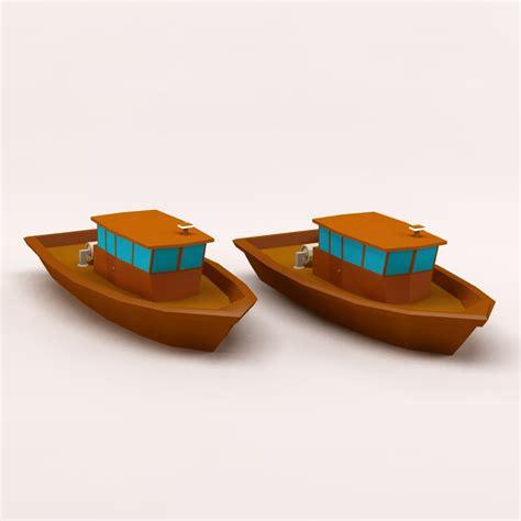 cartoon boat 3d model c4d cartoon fishing boat