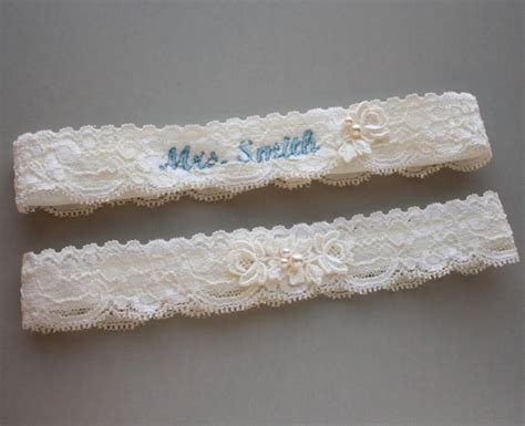 Wedding Garter Sets by Personalized Garter Set Monogrammed Garter Set Lace