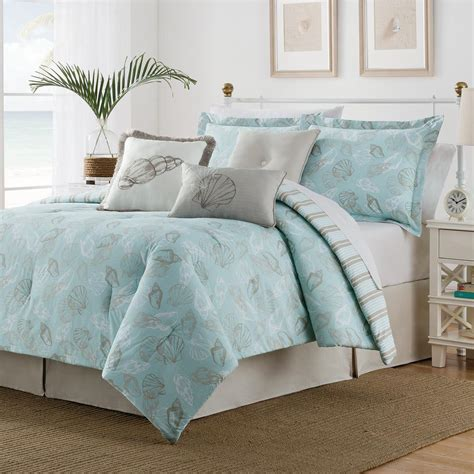 seashell 7 piece multi colored queen comforter set