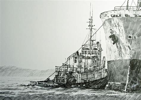 tugboat drawing tugboat richard foss drawing by james williamson