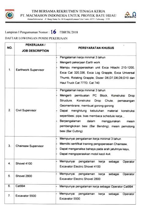 Macbook Januari terbaru pengumuman lowongan kerja pt macmahon indonesia