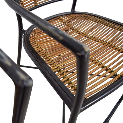 75 Off Bamboo And Metal Bar Stools Chairs