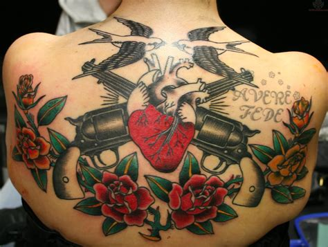 gun and rose tattoos pistol images designs