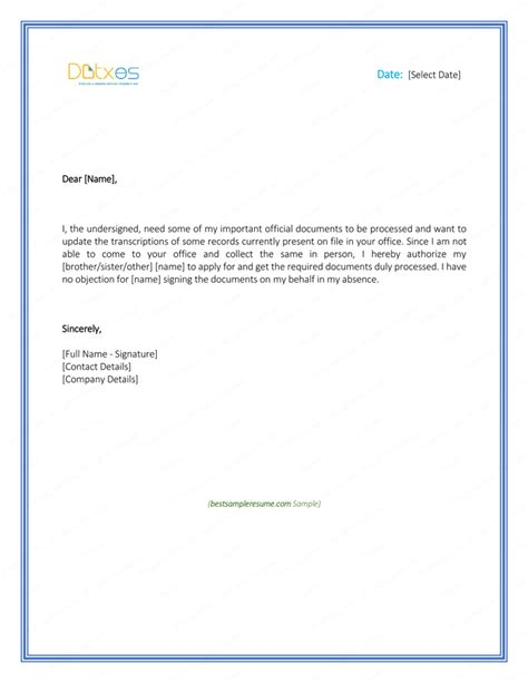 authorization letter template doc 6 free printable authorization letter formats and sles