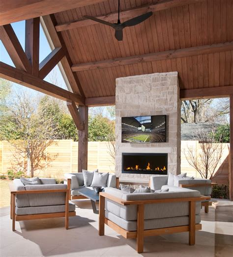 outdoor fireplace with tv patio contemporary with back