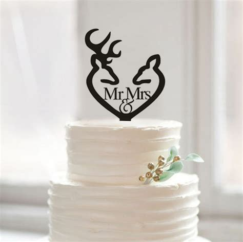 Mr and Mrs Cake Topper, Custom Deer Cake Topper, Antler