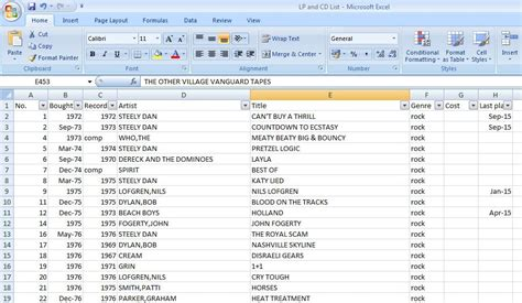 cd track list template categorizing my vinyl collection onto an excel spreadsheet