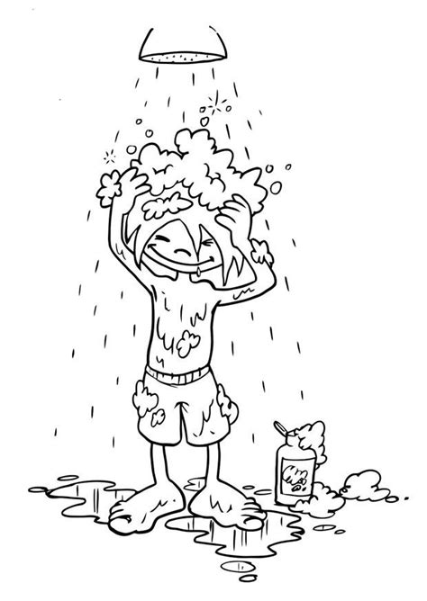 washing hair coloring pages coloring page to wash one s hair img 19192
