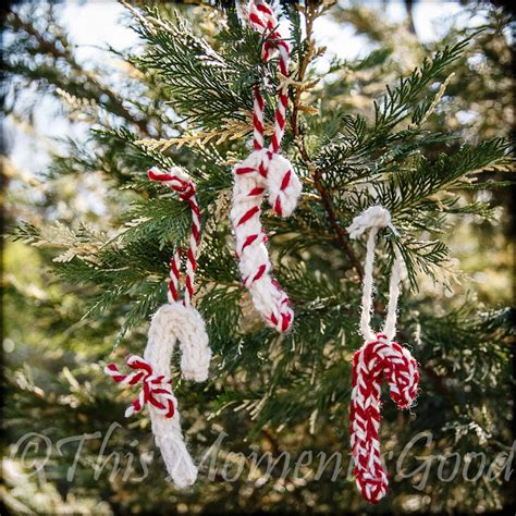 this moment is good loom knit candy cane ornaments