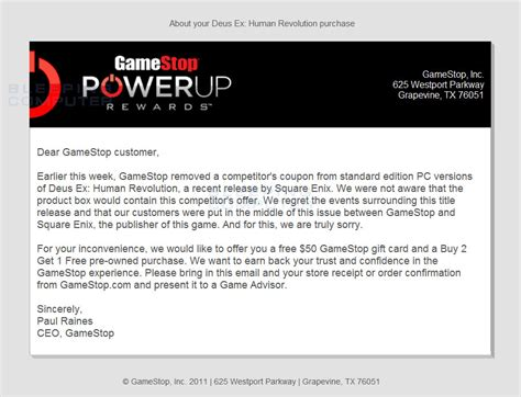Gamestop Email Gift Card - gamestop offers 50 gift card for deus ex human revolution purchases for removing