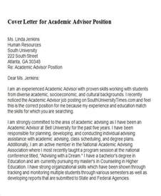 6 sample academic advisor cover letter free sample