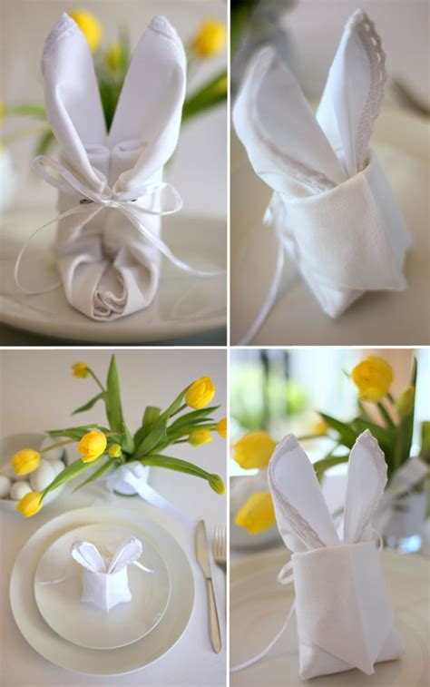 Easter Paper Napkin Folding - how to make an easter bunny napkin