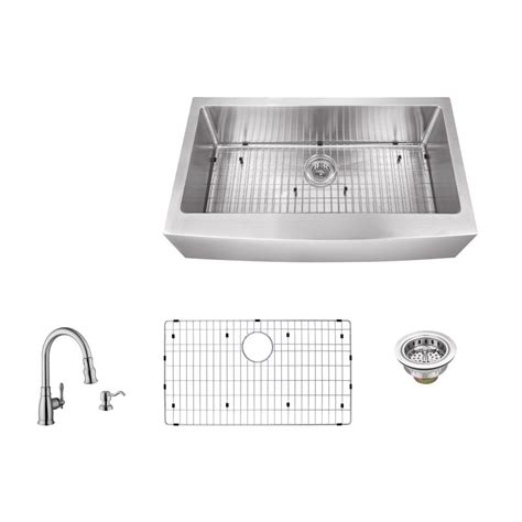 kitchen sink co ipt sink company apron front 33 in 16 gauge stainless steel single bowl kitchen sink in brushed