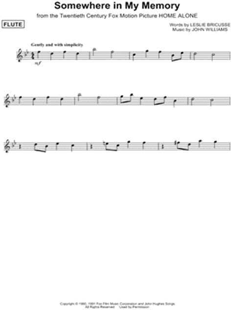 theme songs home quot somewhere in my memory quot from home alone 2 sheet music