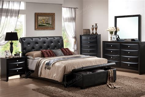 black leather bedroom set queen bed wooden bed bedroom furniture showroom