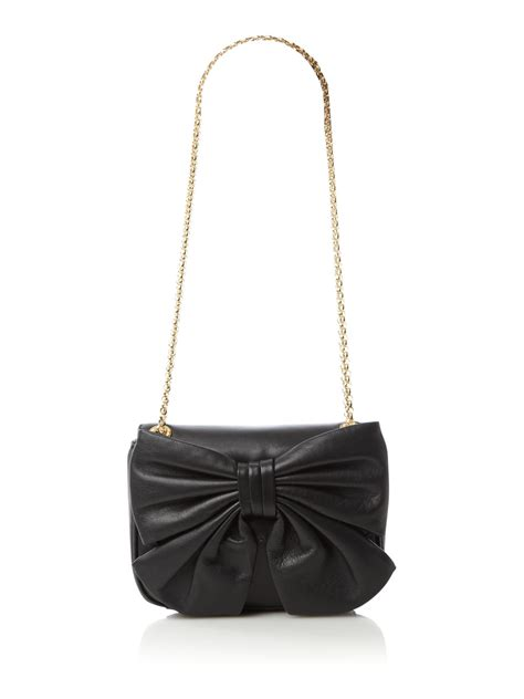 Lulu Guinness Bows Pleats Stella by Lulu Guinness Annabelle Bow Nappa Chain Shoulder Bag In