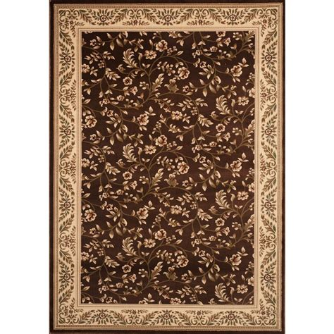 home world rugs world rug gallery manor house brown floral 5 ft 3 in x 7 ft 3 in area rug 7861 the home depot