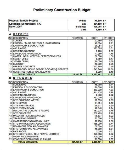 construction budget template sle construction budget 8 documents in pdf word