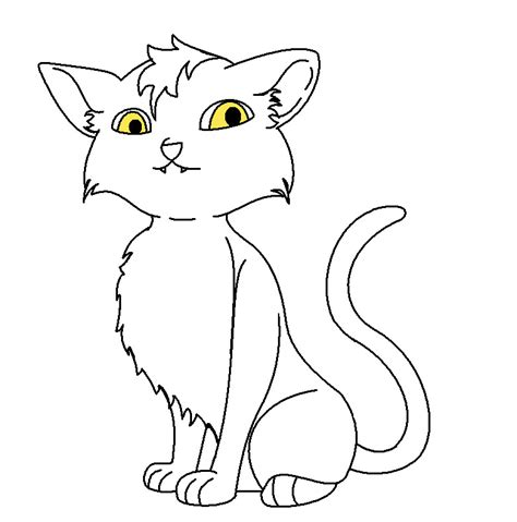 kitten outline coloring page outline of cat az coloring pages