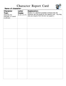 character card template character report card how will you grade by