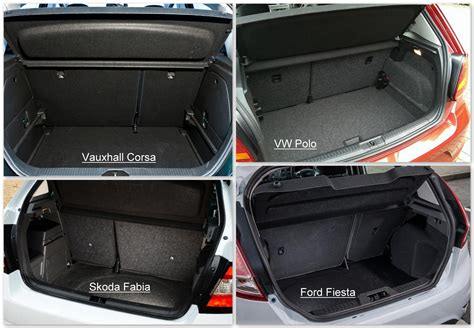 volkswagen polo trunk vauxhall corsa vs vw polo skoda fabia and ford fiesta