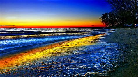 colorful ocean wallpaper rainbow wave beach colorful ocean rainbow sky trees