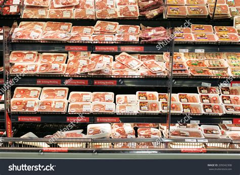 sections in the supermarket toronto canada may 06 2014 meat and poultry section