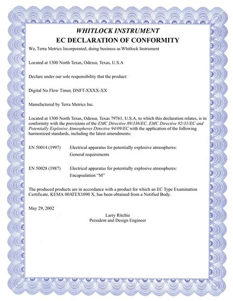 beaufiful ec declaration of conformity template pictures