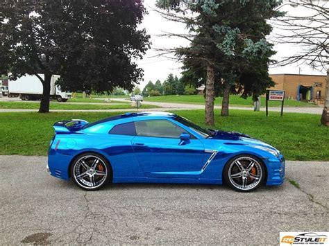 nissan sports car blue nissan gtr blue chrome wrap vinyl car wrap car wraps