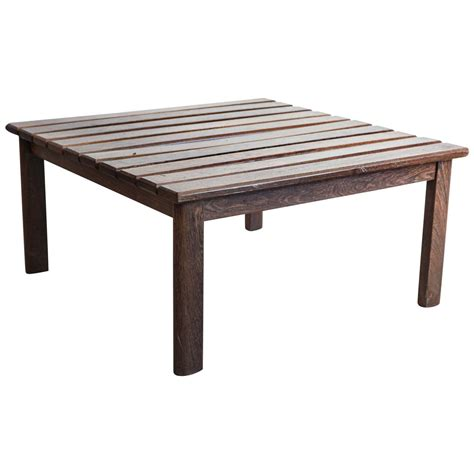 Slatted Coffee Table Slatted Teak Square Coffee Table At 1stdibs