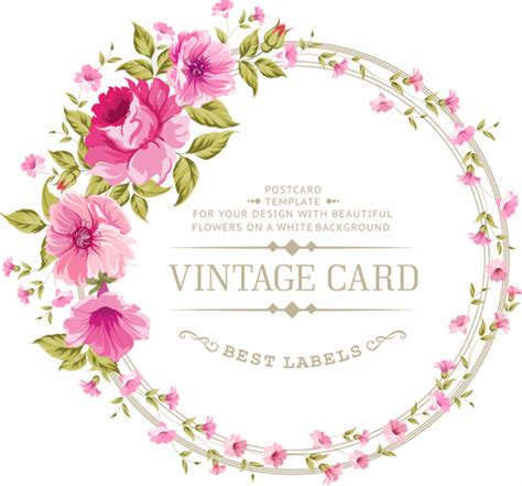 Flowers With Gift Card - pink flowers with vintage cards vectors 01 vector card vector flower free download