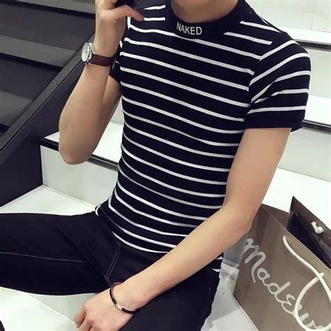 T Shirt Motif Garis fashion pria kaos t shirt lengan pendek model neck