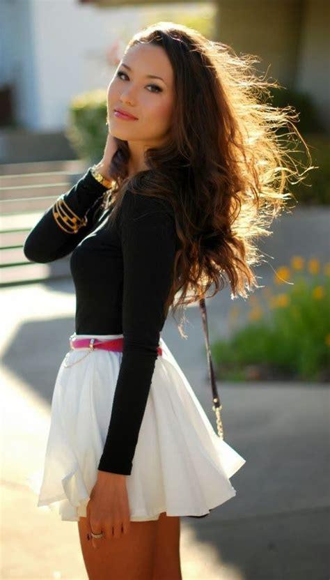 Mini Skirt Black White Jfashion black sleeve blouse and white flowy mini skirt fashion skirts and dresses flats