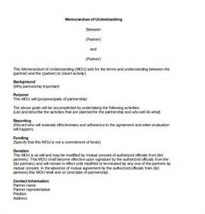 memo of understanding template 10 memorandum of agreement templates free sle