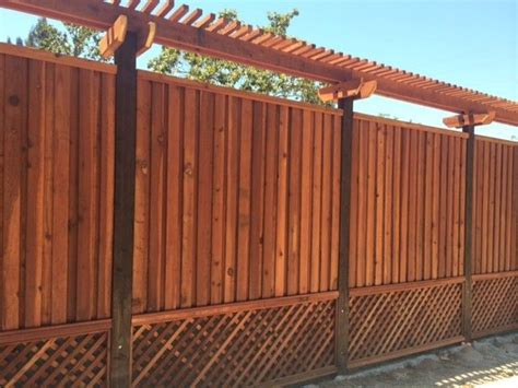 17 best ideas about redwood custom redwood fence with lattice bottom and trellis on