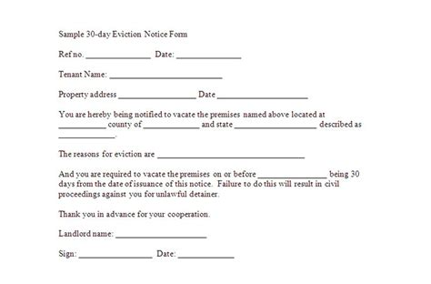30 day eviction notice template free downloadable eviction forms sle 30 day eviction