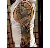 Japanese Flowers And Koi Sleeve Tattoo