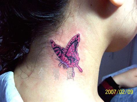 butterfly tattoo on the neck red butterfly tattoo on side neck