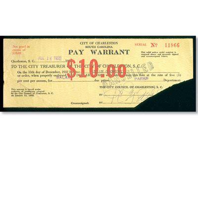 Warrant Search South Carolina 1932 South Carolina 10 Pay Warrant Littleton Coin Company