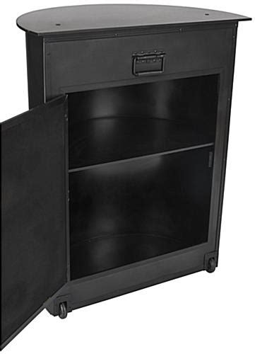 locking trade show podium travel coverts to counter