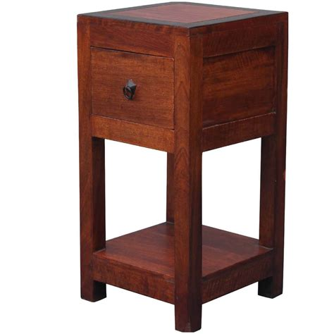 Nightstand Tables by Square 2 Tier Solid Wood Nightstand End Table W Drawer