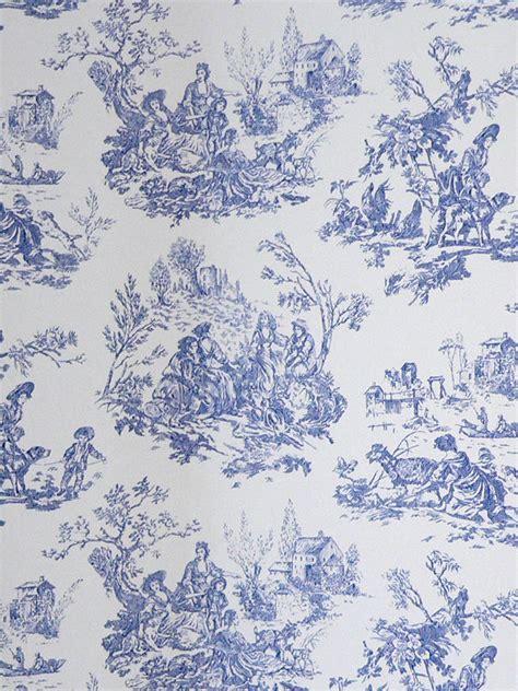 Tapisserie De Jouy papierpeint9 papier peint toile de jouy bleu