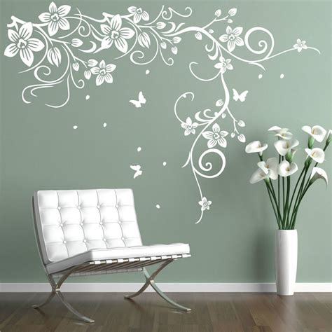 flower wall stickers for bedrooms j18 butterfly vine flower vinyl wall art stickers wall