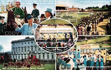 Irish Hospitals Sweepstake Ticket - ak ansichtskarte pferdesport pferderennen reitsport irish hospitals sweepstake